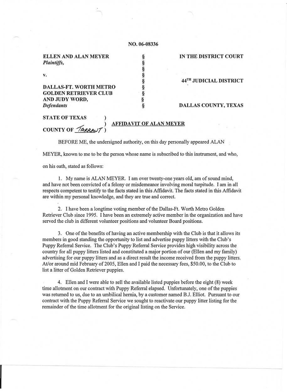 DFWMGRC Law Suit - Plaintiff's Affidavits